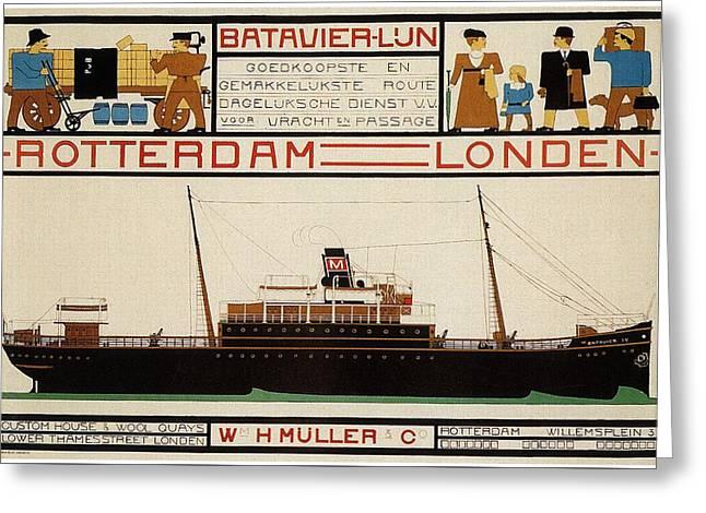 W H Muller - Ocean Liner - Rotterdam To London - Vintage Advertising Poster Greeting Card