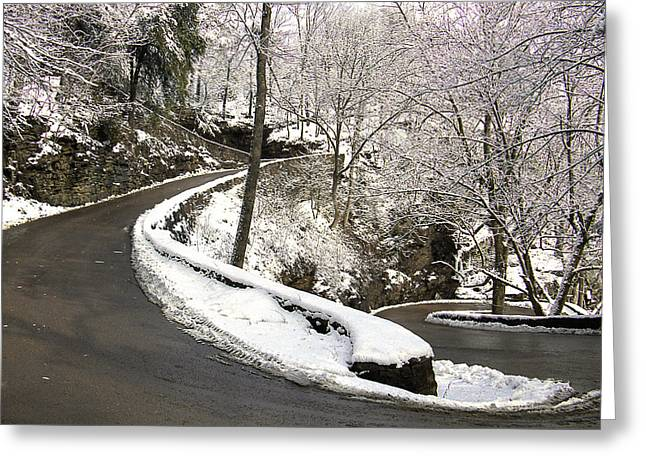 W Road In Winter Greeting Card