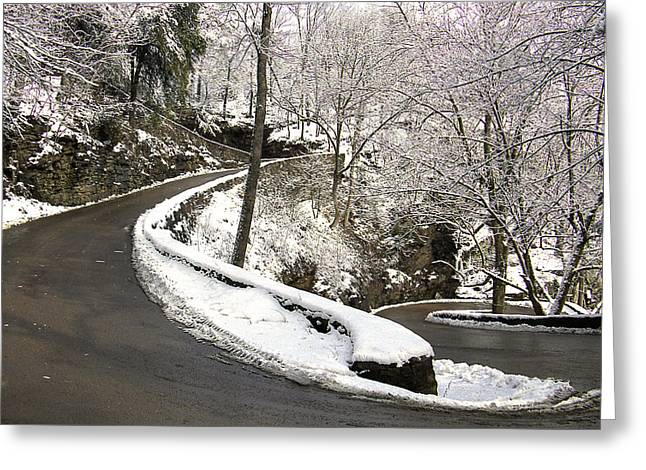 W Road In Winter Greeting Card by Tom and Pat Cory