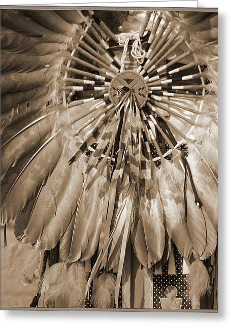 Greeting Card featuring the photograph Wacipi Dancer In Sepia by Heidi Hermes