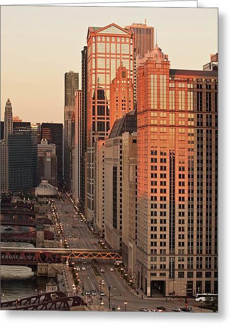 Wacker Drive Sunset Chicago Greeting Card by Steve Gadomski