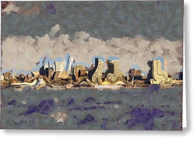 Wacky Philly Skyline Greeting Card by Trish Tritz