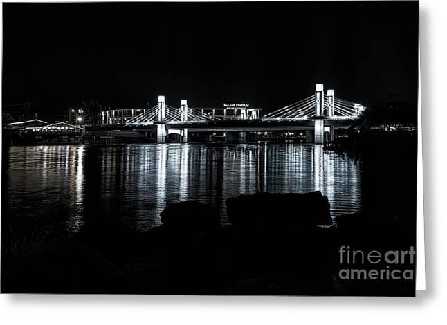 Waco Brazos River Bridge Bw Greeting Card