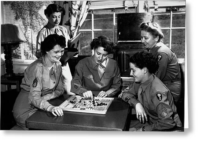 Wacs In Day Room At Dorm 1946 Greeting Card by Ed Westcott