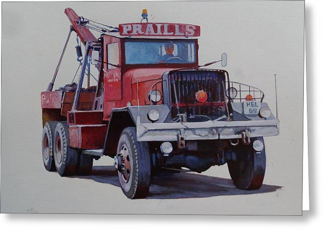 Greeting Card featuring the painting Ward La France Wrecker by Mike Jeffries