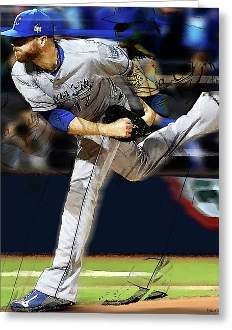 Wade Davis Painting Game 5 World Series 2015 Champions Kansas City Royals Greeting Card by Thomas Pollart
