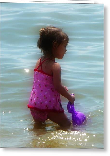 Wading Child Greeting Card by Lori Seaman