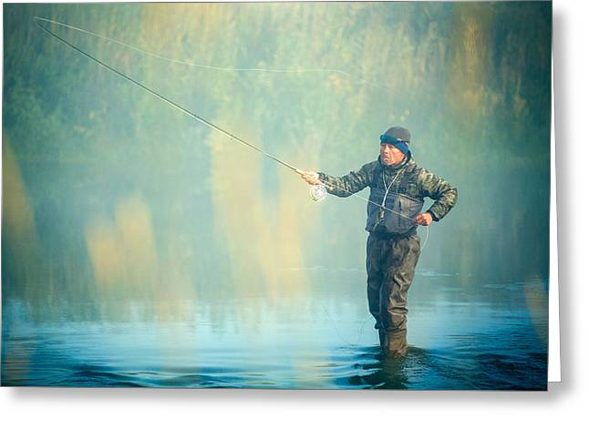 Wading For Trout Greeting Card by Todd Klassy
