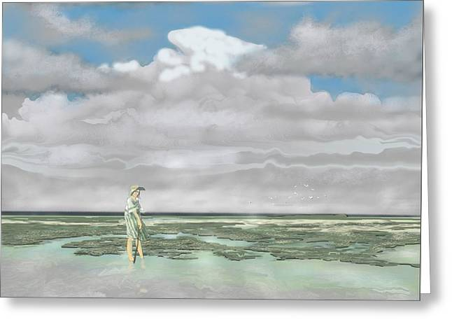 Wading The Salt Flats Greeting Card