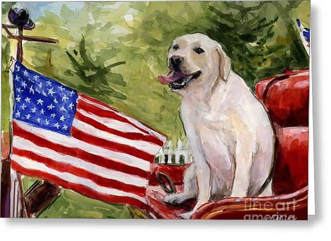 Wag The Flag Greeting Card by Molly Poole