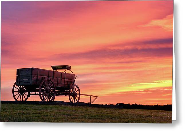 Wagon Afire Greeting Card by Michael Blanchette