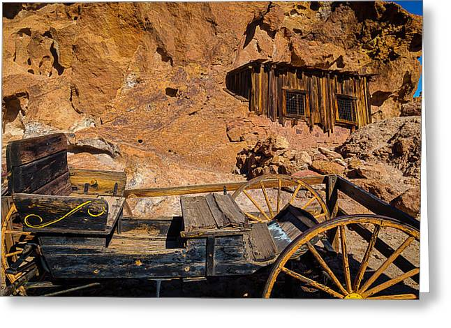 Wagon And Miners Hut Greeting Card