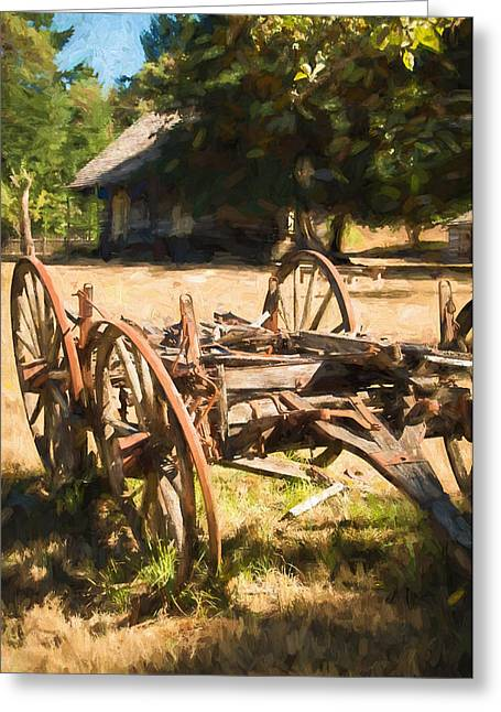 The Old Wagon Greeting Card by Marilyn Wilson