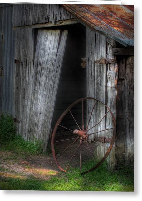 Wagon Wheel And Barn Door Greeting Card by David and Carol Kelly