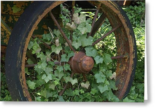 Wagon Wheel Greeting Card by Dennis Stein