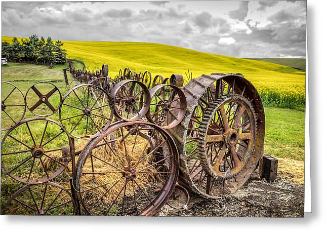 Wagon Wheel Fence Greeting Card by Brad Stinson