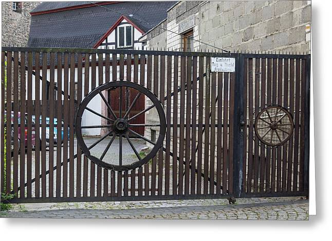 Wagon Wheel Gate Greeting Card