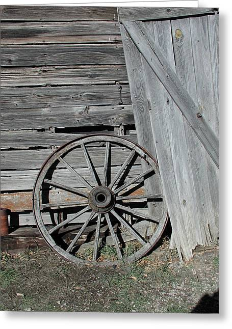 Greeting Card featuring the photograph Wagon Wheel by Nancy Taylor