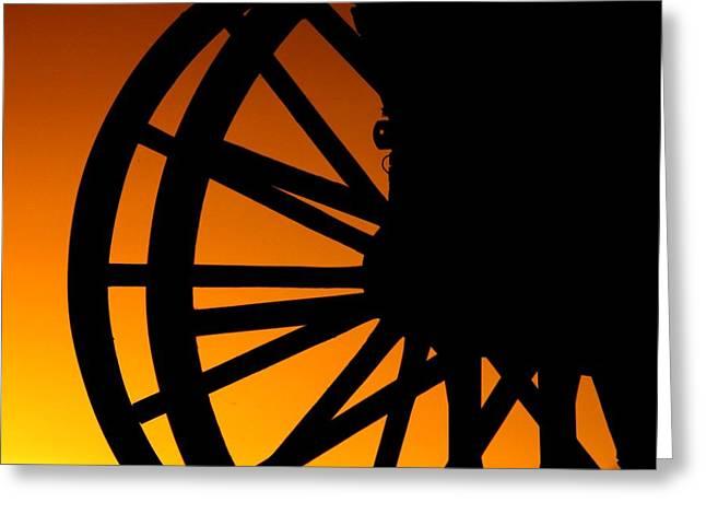 Wagon Wheel Sunset Greeting Card
