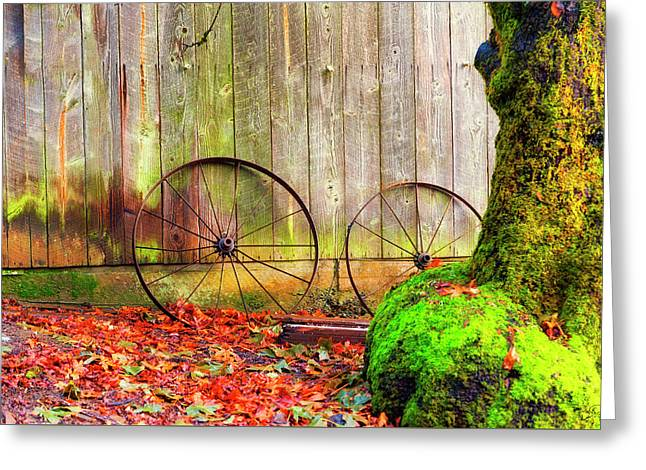 Wagon Wheels And Autumn Leaves Greeting Card