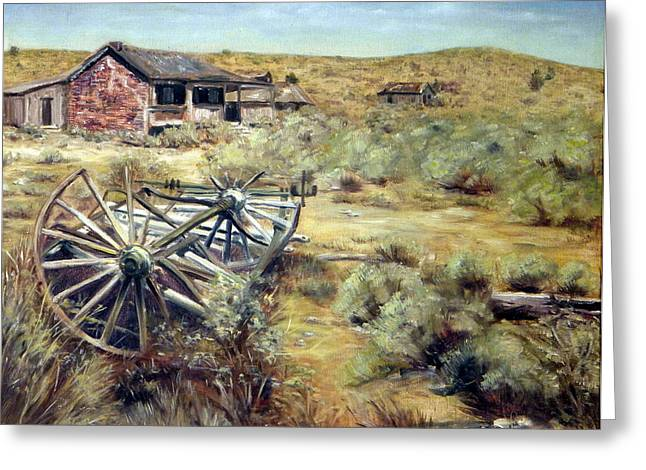 Wagon Wheels Bodie California Greeting Card by Evelyne Boynton Grierson