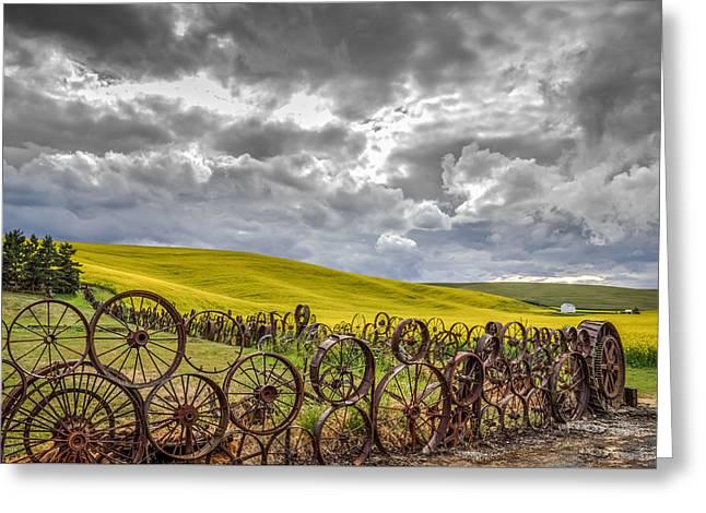 Wagon Wheels Greeting Card by Brad Stinson