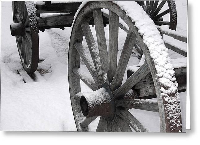 Wagon Wheels In Snow Greeting Card by Linda Drown