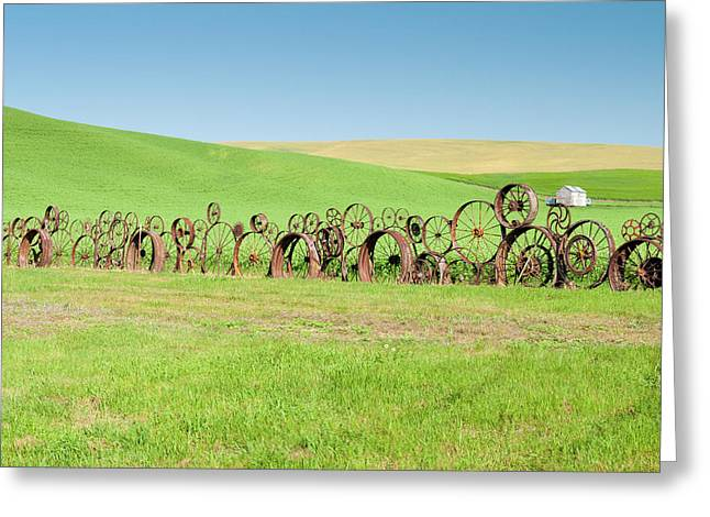 Wagon Wheels Stacked Palouse Washington Greeting Card by James Hammond