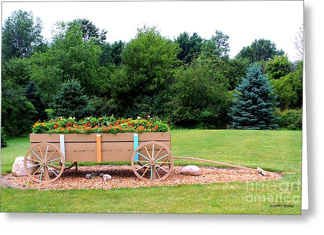 Wagon With Flowers Greeting Card by Corey Ford
