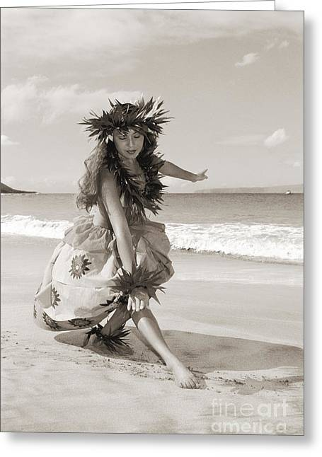 Wahine Hula Greeting Card by Himani - Printscapes