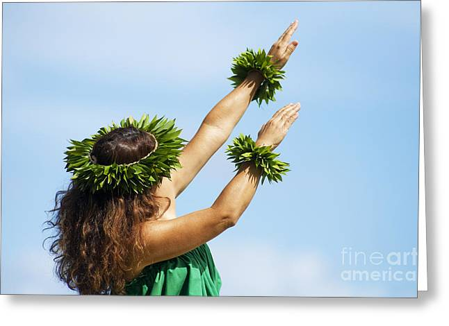 Wahine Hula Greeting Card by Ron Dahlquist - Printscapes