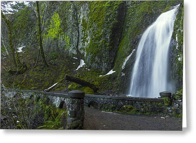 Wahkeena Falls Bridge Greeting Card