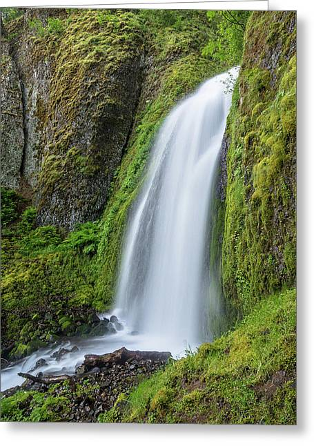 Greeting Card featuring the photograph Wahkeena Falls by Greg Nyquist