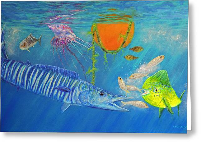 Wahoo Dolphin Painting Greeting Card