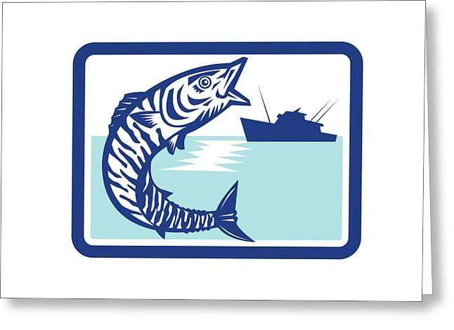 Wahoo Fish Jumping Fishing Boat Rectangle Retro Greeting Card