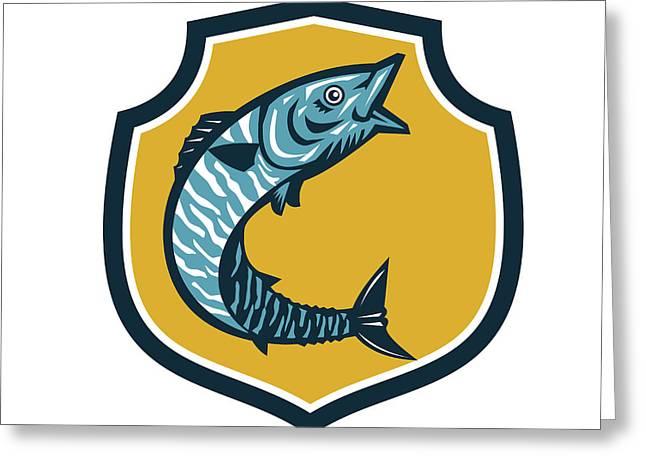 Wahoo Fish Jumping Shield Retro Greeting Card