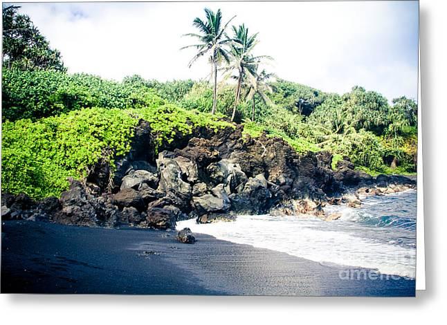 Waianapanapa Black Sand Beach Pailoa Bay Hana Maui Hawaii Greeting Card by Sharon Mau