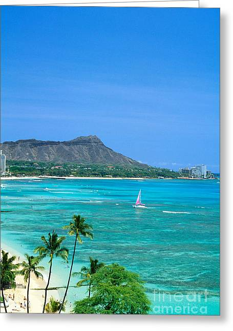 Waikiki And Sailboat Greeting Card by Vince Cavataio - Printscapes