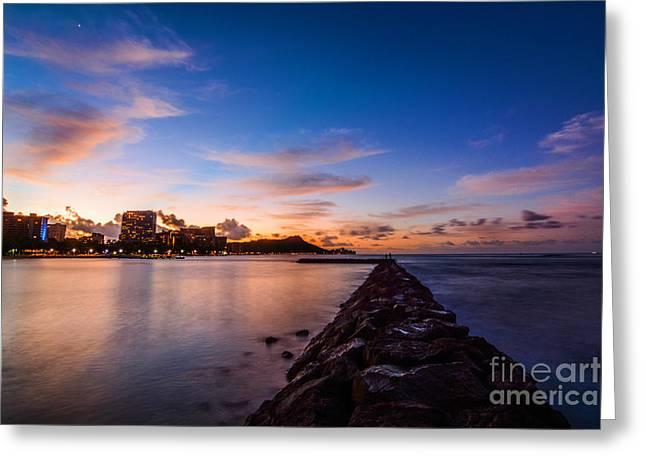 Waikiki At Sunrise Greeting Card by Kristin Yata