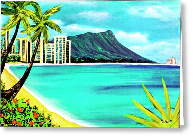 Waikiki Beach And Diamond Head #150 Greeting Card by Donald k Hall