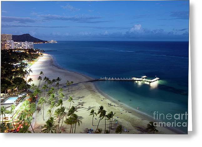 Waikiki Beach At Dusk Greeting Card by Bill Cobb
