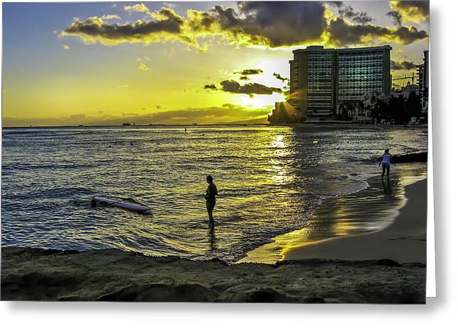 Waikiki Beach At Sunset Greeting Card