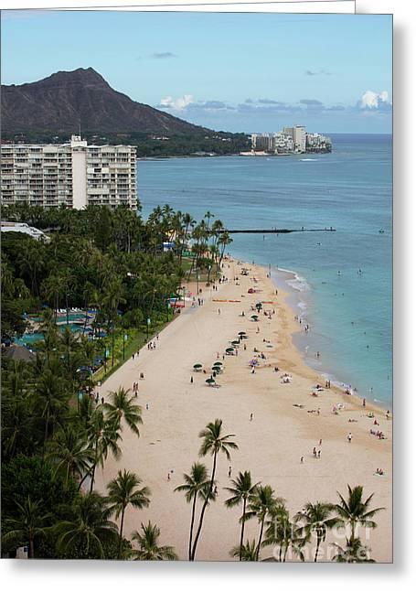 Waikiki Beach Greeting Card by Bill Cobb