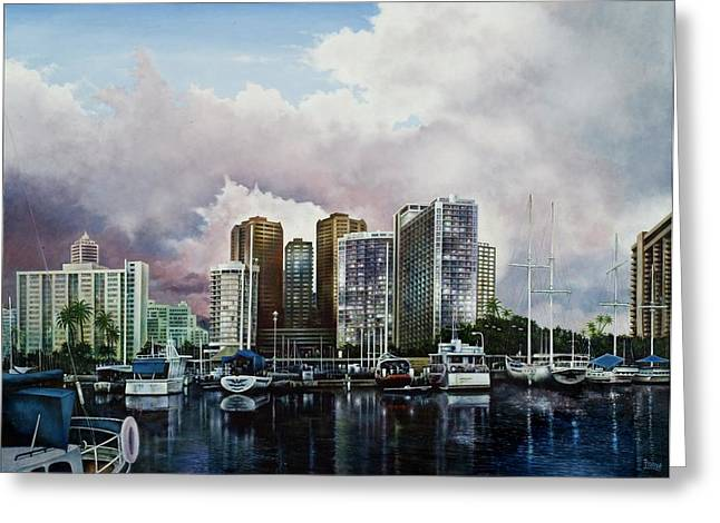 Greeting Card featuring the painting Waikiki Beach Marina by Michael Frank