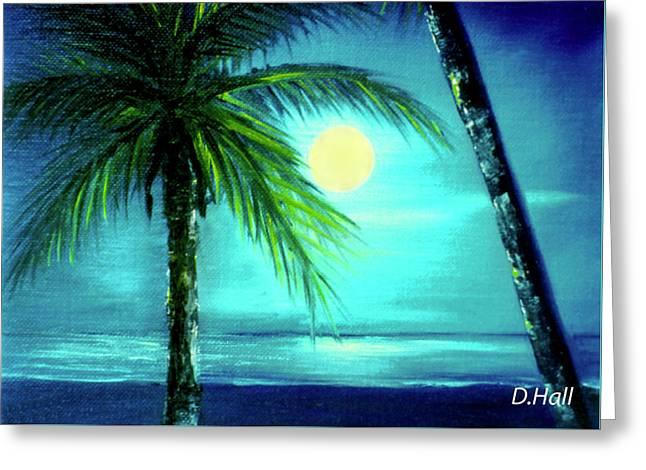 Waikiki Beach Moon #22 Greeting Card by Donald k Hall