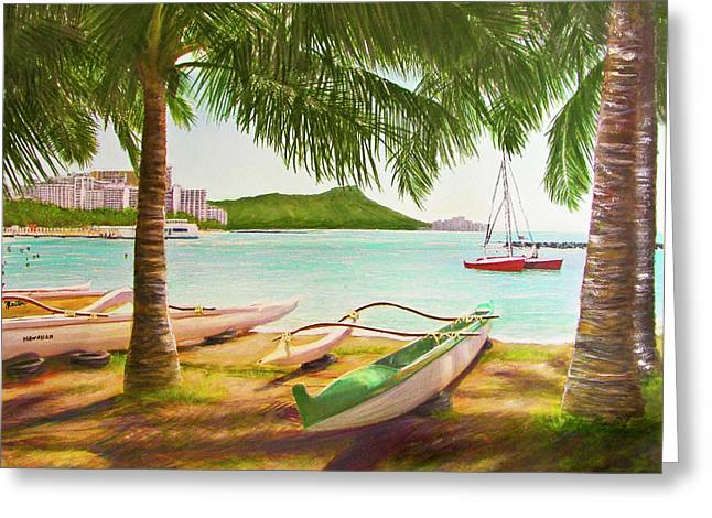 Waikiki Beach Outrigger Canoes 344 Greeting Card by Donald k Hall