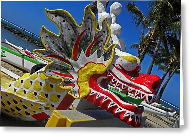 Waikiki Dragon Greeting Card by Elizabeth Hoskinson