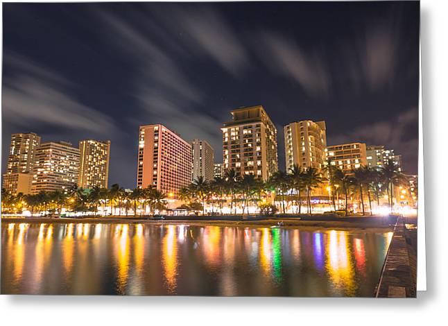Waikiki Nights Greeting Card by Brian Governale