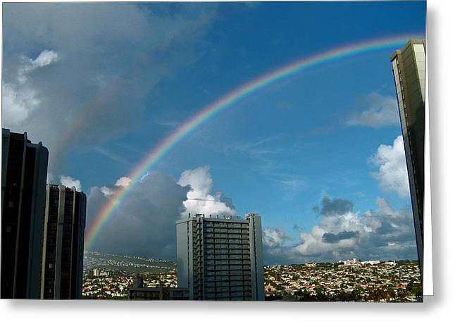 Greeting Card featuring the photograph Waikiki Rainbow by Anthony Baatz