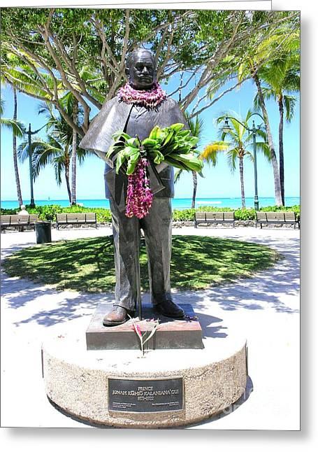 Waikiki Statue - Prince Kuhio Greeting Card by Mary Deal
